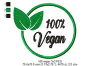 100% Vegan - Fill Stitch - 3x3 4x4 5x5 6x6 7x7 8x8