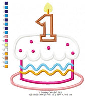 Birthday Cake Candle Number 1 - Applique - 4x4 5x5 6x6