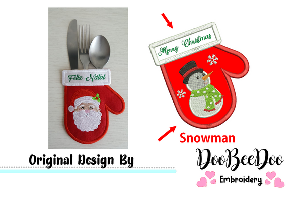 Snowman Cutlery Holder (ITH) - Applique - Machine Embroidery Design