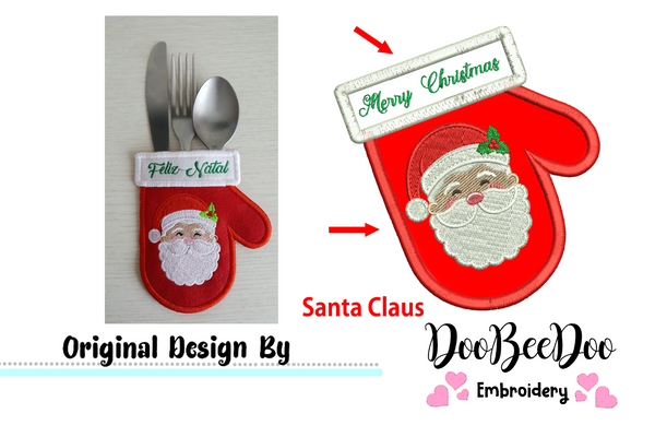 Santa Claus Cutlery Holder (ITH) - Applique - Machine Embroidery Design