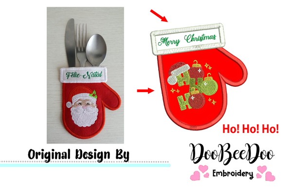 HO HO HO Cutlery Holder (ITH) - Applique - Machine Embroidery Design