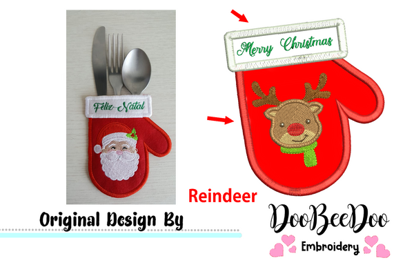Reindeer Cutlery Holder (ITH) - Applique - Machine Embroidery Design