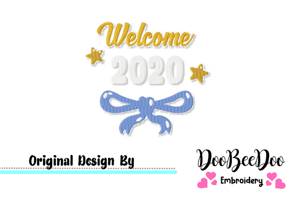 Welcome New Year 2020 - Fill Stitch -   Machine Embroidery Design