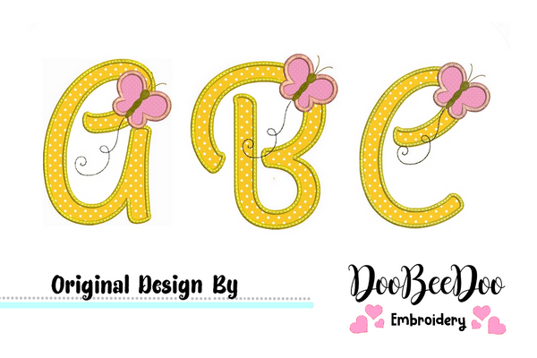 Monogram  Butterfly  - Applique Machine Embroidery Design