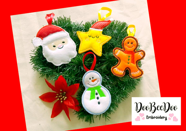 Cute Christmas Ornaments - Applique - Machine Embroidery Design