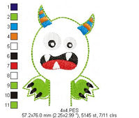 ITH Pencil Topper Little Monster - Applique - Machine Embroidery Design