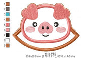 Cute Pig Bookmarker - Applique - Machine Embroidery Design