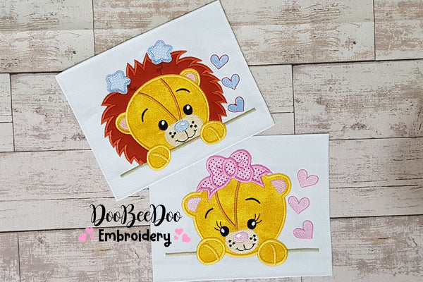 Lion Girl and Boy - Set of 2 designs  - Applique - 4x4 5x7 6x10 7x12