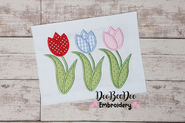 Three Tulips - Applique - 5x7 6x10 7x12