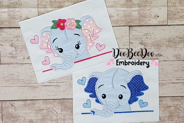 Elephant Boy and Girl - Set of 2 designs - Applique - 4x4 5x7 6x10 7x12