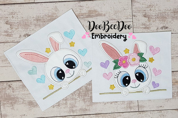Bunny Girl and Boy - Sey of 2 designs - Applique - 4x4 5x7 6x10 7x12
