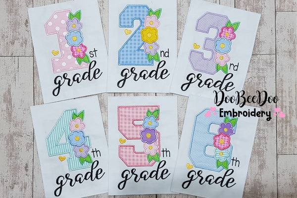 1st to 6th Grade Flowers Back to School Bundle - Applique - 4x4 5x7 6x10 7x12