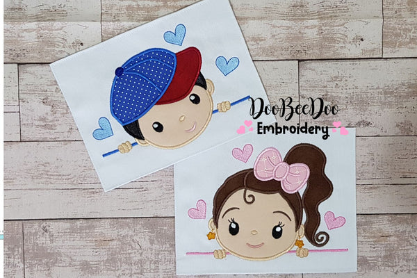 Cute Girl and Boy - Set of 2 designs - Applique - 4x4 5x7 6x10 7x12