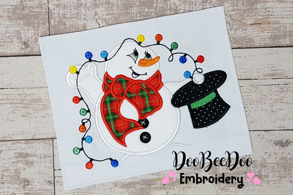Snowman and Christmas Lights - Applique - 4x4 5x4 5x7 6x10 7x12
