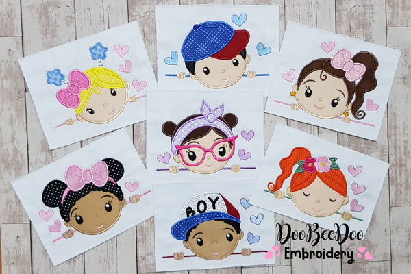Cute Boy and Girl - Set of 7 designs - Applique - 4x4 5x7 6x10 7x12