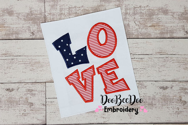 Love 4th of July - Applique - 4x4 5x7 6x10 7x12