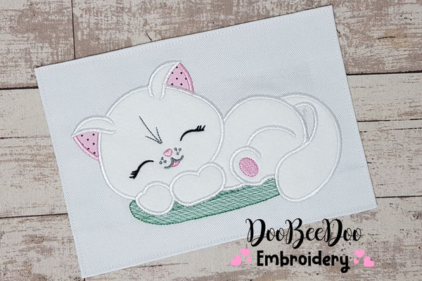 Sleeping Cat - Applique - 5x7 5x8 6x10 7x12