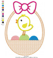 Little bird in Easter Basket - Applique  - Machine Embroidery Design