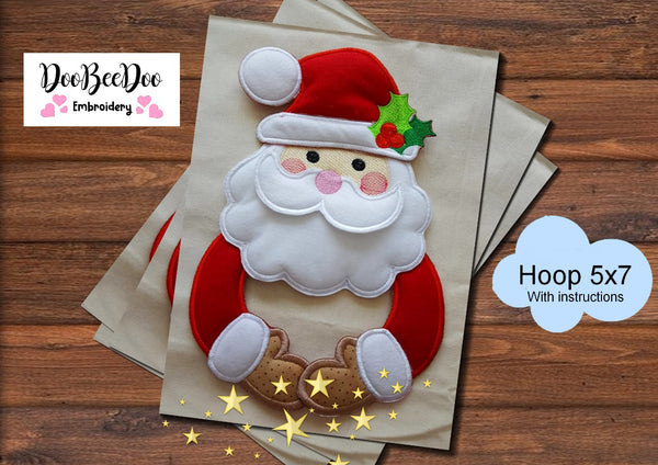 Santa Claus Holder (ITH) - Applique - Machine Embroidery Design