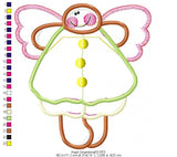 Country Angel Gingerbread  - Applique - Machine Embroidery Design