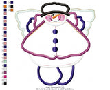 Country Angel Snowman - Applique - Machine Embroidery Design