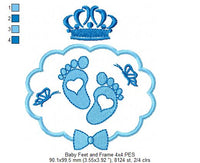 Baby Feet, Frame and Crown - Fill Stitch - 4x4 5x5 6x6 7x7