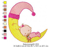 Moon Baby Girl - Rippled - Machine Embroidery Design