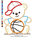 Teddy Bear and Basketball - Applique - Machine Embroidery Design