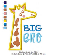 Big Brother Giraffe - Applique Machine Embroidery Design