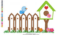Bird House and Fence - Applique - Machine Embroidery Design