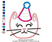 Birthday Cat Girl - Applique - Machine Embroidery Design