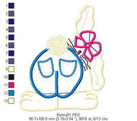 Cute Bunny  - Applique - Machine Embroidery Design