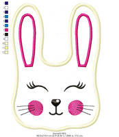 Bunny Sucker Topper (ITH) - Applique - 3.17″x4.53″  3.70″x5.27″ 5.93″x8.43″ 6.36″x9.05″7.16″x10.20″