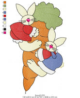 Easter Bunnies  - Applique - Machine Embroidery Design