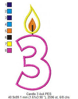 Birthday Candle Number Three - Applique - 4x4 5x7 6x10 7x12