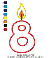 Birthday Candle Number Nine - Applique - 4x4 5x7 6x10 7x12
