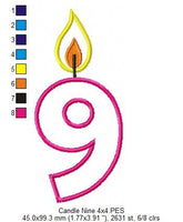 Birthday Candles Number Nine - Applique - 4x4 5x7 6x10 7x12