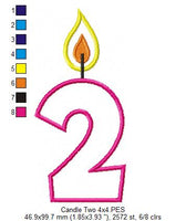 Birthday Candle Number Two - Applique - 4x4 5x7 6x10 7x12