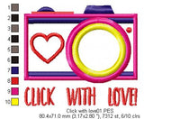 Click with love - Applique - Machine Embroidery Design