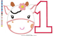 Cow One Birthday Girl - Applique - 4x4 5x7 6x10 7x12