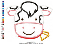 Cow Face Boy - Applique - Machine Embroidery Design