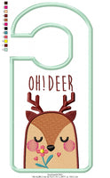 Cute Deer Door Hanger - Applique - Machine Embroidery Design