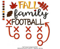Fall Family Football - Fill Stitch - 4x4 5x5 6x6