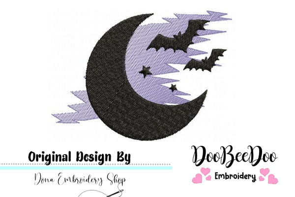 Moon Bats - Halloween - Applique Machine Embroidery Design