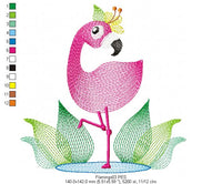 Flamingo - Rippled - Machine Embroidery Design