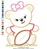 Teddy Bear and Football Girl and Boy - Applique - 4x4 5x5 6x6 7x7