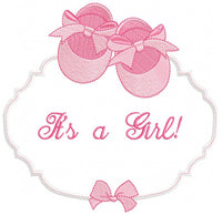 It's a Girl Baby Shoe Frame - Applique - 4x4 5x5 6x6 7x7
