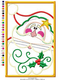 Country Santa Claus on frame - Applique - Machine Embroidery Design