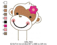 ITH Pencil Topper Little Monkey Boy and Girl - Applique - Machine Embroidery Design