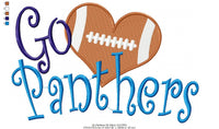 Football Go Panthers - Fill Stitch - 4x4 5x4 5x7 5x8 6x10 7x12